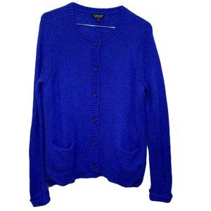 Topshop Royal Blue Mohair Button up cardigan